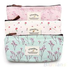 Hot Venda Nova Flor Floral Pencil Pen lona maleta de maquiagem cosmética Ferramenta Bag Bolsa de armazenamento Bolsa 01H7(China (Mainland))