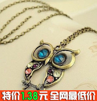 0107 accessories vintage three-color cutout carved owl necklace