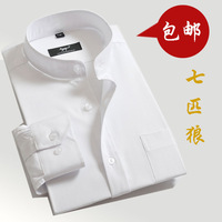 2013 tommi Autumn SEPTWOLVES male dress stand collar business casual long-sleeve shirt easy care white long-sleeve shirt male