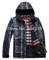 Free shipping 2013 mens burton waterproof skiing jacket snowboard jacket light ski parka men ski suit skiwear black grid