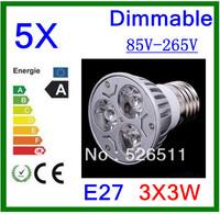Wholesale-5pcs High power E27 9W  3x3W 85V-265V Dimmable  CREE LED Spotlight Bulb downlight lamp free shipping 2 years Warranty