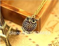 Fashion lovely vintage Cute OWL Gold Plated Pendant Necklace FREE SHIPPING
