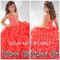 50% Off Ball Gown Halter Sleeveless Floor Length Ruffles Red Beaded Organza Ritzee Little Girls Pageant Dresses Gown JY2080