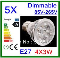 Wholesale-5pcs High power E27 12W  4x3W 85V-265V Dimmable  CREE LED Spotlight Bulb downlight lamp free shipping 2 years Warranty
