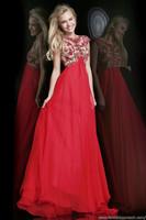Red Sexy Custom Made Jewel Cap Sleeve Appliqued Chiffon Sleeveless A-Line Long Formal Evening Prom Dresses 2014