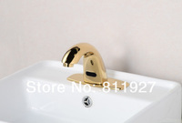 New arrival! CE certificate approved high level golden plated gold color yellow touch free automatic sensor bathroom aucets tap