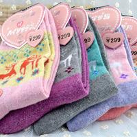 Women's long socks winter warmth cartoon pattern Large deer rabbit wool sock