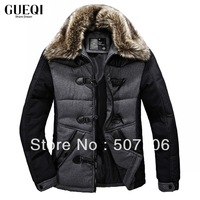2013 New Brand Men's Fashion Stylish Thicken Cotton-Coat, Fashion Collars Withe Real Removeable Fur Coat For Men, Free Shipping