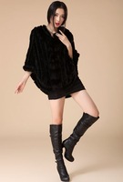 women sexy  rabbit fur poncho  with  fox fur  coat lady  fashion winter shawl  free size DHL/EMS free shipping