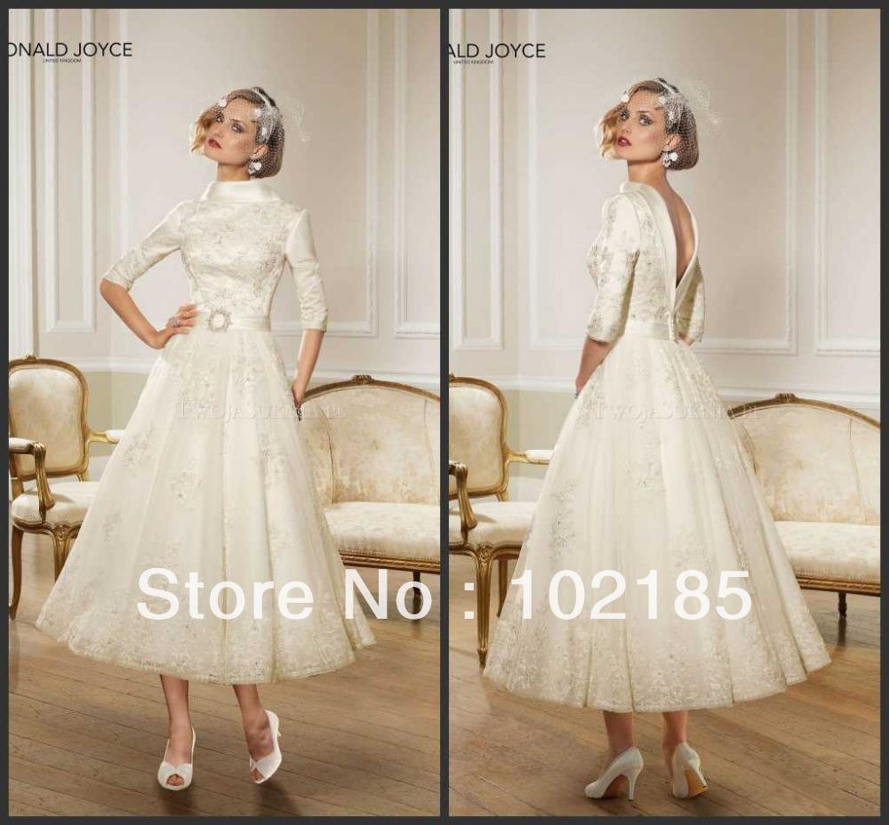 Champagne Colored Tea Length Wedding Dresses Reviews