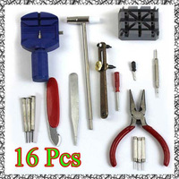 New 16pc Deluxe Watch Opener Tool Kit Set Repair Pin Strap Remover Case Holder