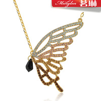Curtain butterfly crystal sweater necklace long design accessories fashion