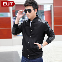2013 jacket coat leather outerwear mens casual jacket clothing slim