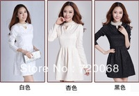2013 new Korean version of Slim package hip was thin long-sleeved knit dress lace skirt backing