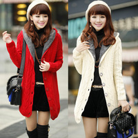Female 2013 autumn and winter women slim hooded thermal plus velvet thickening sweater overcoat outerwear slim