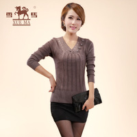 Xuema 2013 solid color women's diamond cashmere sweater basic sweater heart-shaped V-neck sweater