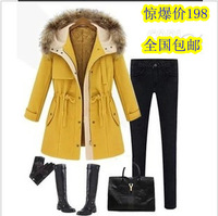 Xl 2013 british style formal slim with a hood medium-long plus size wool coat woolen outerwear female