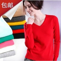 V-neck women's cashmere sweater autumn and winter slim basic shirt small all-match sweater solid color sweater