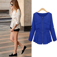 Fashion women's 2013 autumn gentlewomen formal o-neck long-sleeve all-match slim waist chiffon shirt