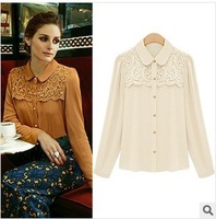Autumn new arrival 2013 british style women's gentlewomen slim all-match turn-down collar long-sleeve lace chiffon shirt