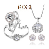 ROXI Delicate white heart stone jewelry sets,platinum with AAA zircons,fashion party Jewelrys,best Christmas gifts,107035
