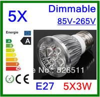 Wholesale-5pcs High power E27 15W  5x3W 85V-265V Dimmable  CREE LED Spotlight Bulb downlight lamp free shipping 2 years Warranty