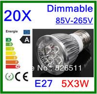 Wholesale-20pcs High power E27 15W  5x3W 85V-265V Dimmable   LED Spotlight Bulb downlight lamp free shipping 2 years Warranty
