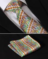 "TFS52Y8 Green Yellow  Floral Stripe 3.4"" Silk Lots Wedding Gravata Jacquard Mans Tie Necktie Pocket Square Handkerchief Set Suit"
