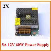 2pcs/lot  input AC100V-240V to DC12V 5A 60W LED Switch Power Supply  Driver  For LED Light Strip for CCTV camera