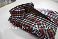 New 2013 Autumn High Quality Warm Winter Casual Men Plaid  Long Sleeve Shirt Fashion Man's Clothing Thick With Velvet