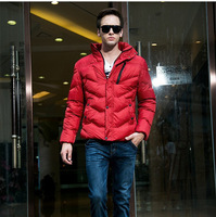 New Men's Clothing fashion Warm in Winter high quality long sleeve Thick Down young man Solid Parkas Black Orange Red Green Blue