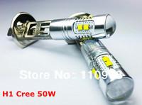 Free Shipping 2 Piece/Lot 2pcs CREE XBD 50W H1 LED Fog Light car DRL light lamp bulb car lighting white