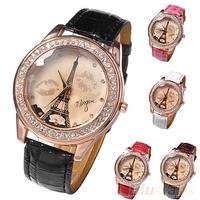 Women Girl's Champagne Dial Lovers Lips Eiffel Tower Analog Quartz Wrist Watch Watches 00CJ