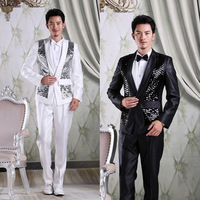 Paillette suit male slim suits blazer wedding dress costume