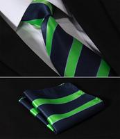 "TS429V8 Green Navy Blue Stripe 3.4"" Silk Wedding Gravata Jacquard Classic Mans Tie Necktie Pocket Square Handkerchief Set Suit"