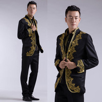 Male formal dress set wedding dress costume costumes fashion laciness stand collar male men's clothing