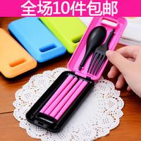Fashion portable tableware fork spoon chopsticks set color block set piece 2539