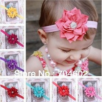 Freeshipping Retail 1piece New Fashion Baby Toddler Diamond Flower Headband Soft Headwear Hairband 13 color in stock FD152