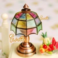 iland 1/12 Miniature Dollhouse Bedside Lamp Colorful Table Light LED classic toys