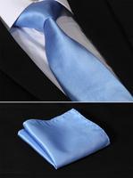 """TS1010B8 Pure Blue Stripe 3.4"""" Silk Lots Wedding Gravata Jacquard Classic Mans Tie Necktie Pocket Square Handkerchief Set Suit"""