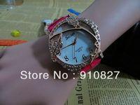 Women fashion leather strap quartz watch Crystal lady dress wrist watches wholesale 300pcs best gifts DHL free shipping