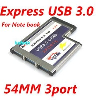 USB 3.0 PCI Express Card Adapter 5Gbps Dual 3 Ports 54mm Slot ExpressCard to USB3.0 Converter Free shipping