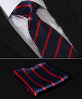 "TS2013R8 Red Navy Blue Stripe 3.4"" Silk  Wedding Gravata Jacquard Classic Mans Tie Necktie Pocket Square Handkerchief Set Suit"