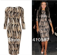 Free shipping plus size women celebrity party bodycon sexy snake print dress ladies slim pencil tight one piece dresses