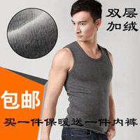 Sleeveless male thermal vest basic plus velvet thickening o-neck top men's underwear internality thermal top plus size