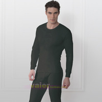 high quality 2 set plus velvet thin thermal underwear male thermal set boxed o-neck long johns basic fiber