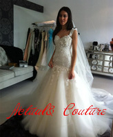 Real Sample Elegant Ivory Applique Beads Mermaid Wedding Dresses With Straps Bridal Gowns Organza VC161