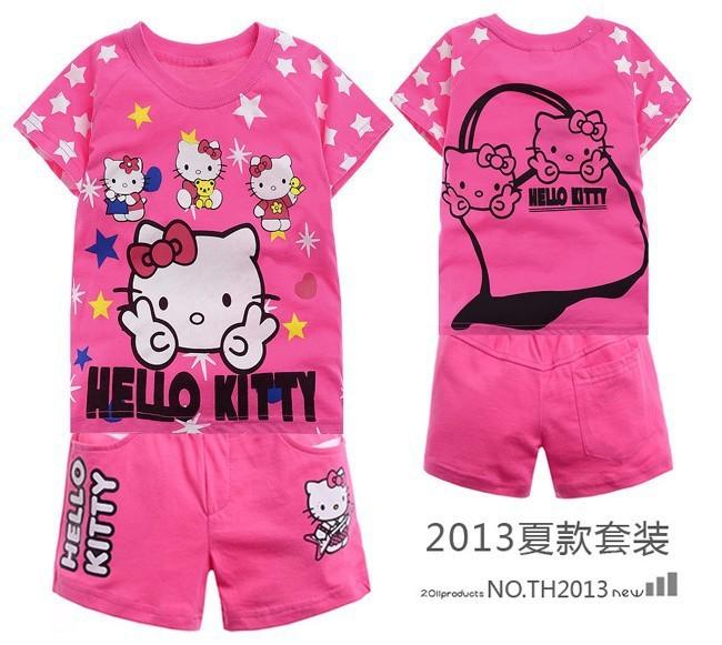 6sets/lot 2013 Fashion baby girl Hello kitty set kids t-shirt+pants clothing set children Summer cotton garment free shipping(China (Mainland))