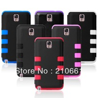 Silicone inner plastic outer shell in Triple phone cover case for Samsung Note 3,D1072