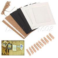 10pcs Practical 6' Hanging Album Clip Kraft Paper Photo Frame DIY Picture Wall